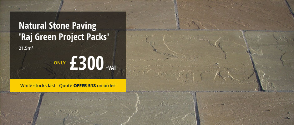 Natural Stone Paving - Raj Green Project Packs